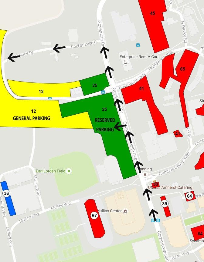 Umass Amherst Parking Map Directions & Parking | Mullins Center
